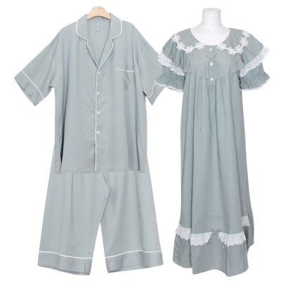 [쿠비카]플라워 레이스 린넨 원피스 커플잠옷 WM347