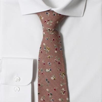 얇은 면 핑크 플라워 넥타이