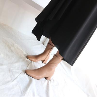 [애슬릿]여성 사각 스퀘어 로우힐 지퍼 앵클 부츠