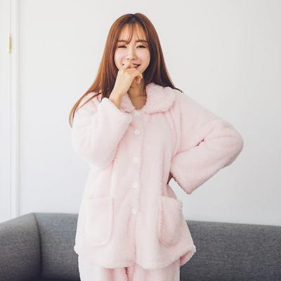 [쿠비카]단추여밈 자켓형 핑크 투피스 여성잠옷 W121