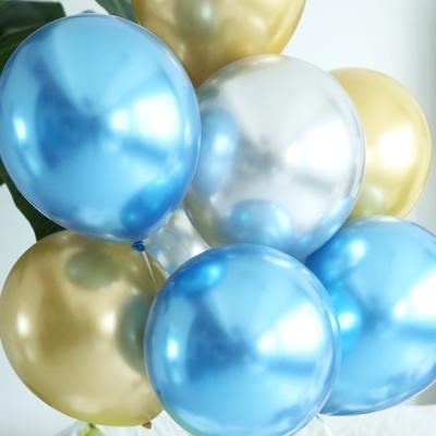 천장장식 크롬풍선(헬륨효과)세트-블루밍골드