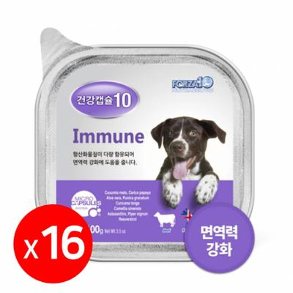 건강캡슐10 면역력 immune 강아지주식캔 1box 16개