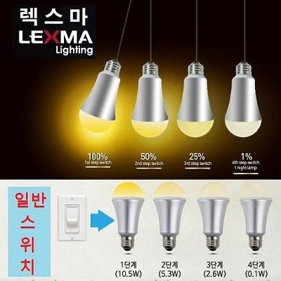 렉스마 LED전구/4단계밝기조절/기존스위치사용