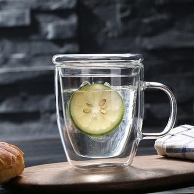 이중 유리머그컵 375ml 뚜껑포함 핸들 물컵 유리잔