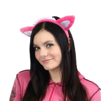 레이스 핑크캣츠 고양이 머리띠