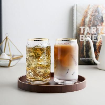 캔 글라스 카페 유리컵 (골드) 475ml 1개입