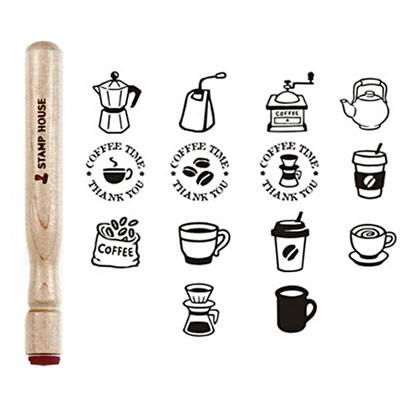 [커피앤티] 스틱형 나무스탬프(원형14mm) 쿠폰스탬프 (14종)