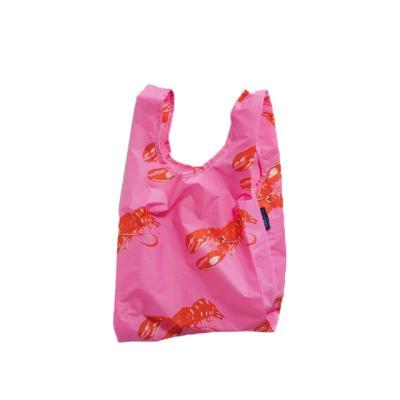 [바쿠백] 소형 베이비 에코백 장바구니 Pink Lobster
