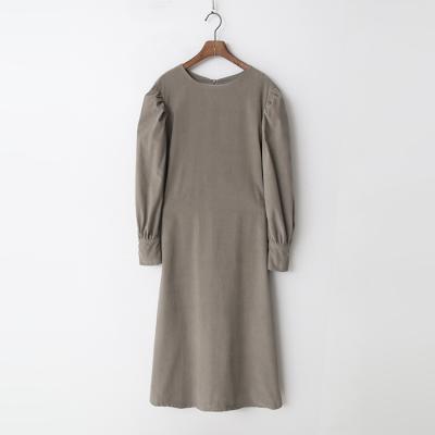 Corduroy Puff Long Dress
