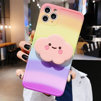 아이폰 귀여운 구름 그립톡 레인보우 실리콘 케이스
