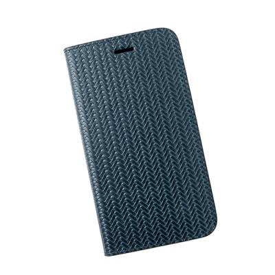 아이폰6플러스 가죽케이스 - 패턴드 블루