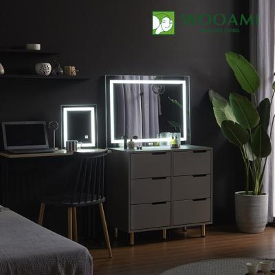 [우아미] 퍼블릭 LED 터치 직사각 화장대 거치 거울