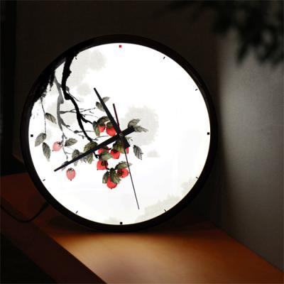 nf424-LED시계액자35R_길운의감나무그림