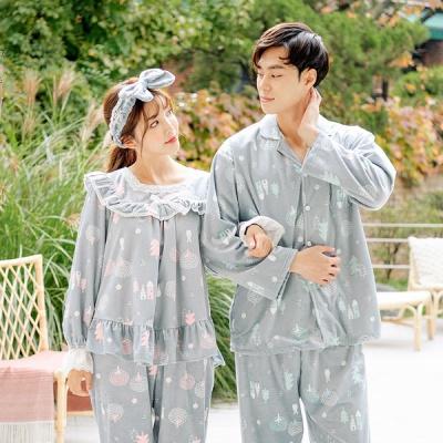 [쿠비카]양면 극세사 투피스 커플잠옷 WM205