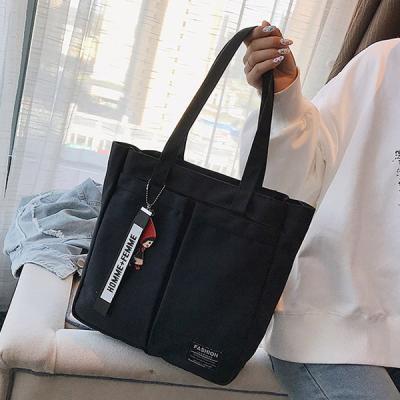 스티치 양포켓 데일리 에코백 천가방 숄더백