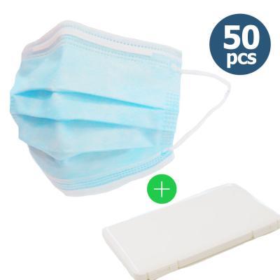 어린이 일회용 마스크 3겹 블루 50매 + 케이스