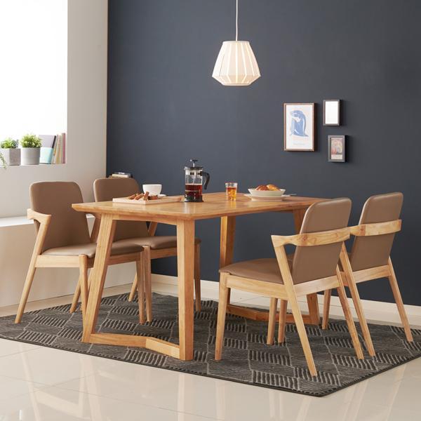 아르메 모카 고무나무 원목 4인 식탁세트(의자4)