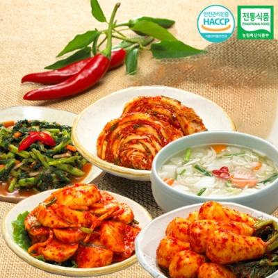 총각김치+열무김치+나박물김치+석박지+맛김치x각1kg