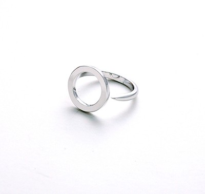 Glam square Open Silver Ring