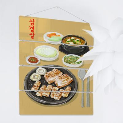 nk219-멀티아크릴액자_고기는구워야맛이지(4단대형)