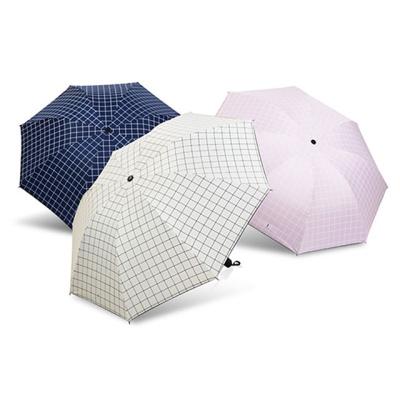 유럽체크 UV차단 수동 우산 양산