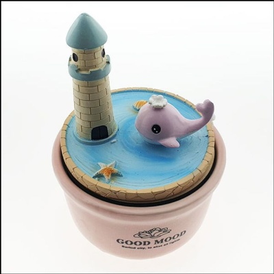 둥근 도자기 뮤직박스 등대와 분홍색고래