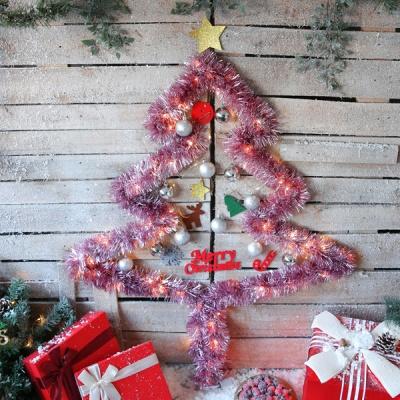 크리스마스 샤틴모루 벽트리 세트 (핑크)