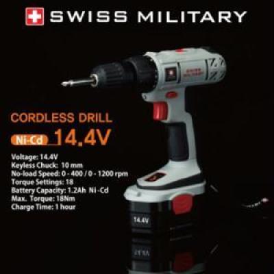 [스위스 밀리터리] 14.4V 충전식 드릴 [배터리1개] SM-14.4-I / 배터리1개