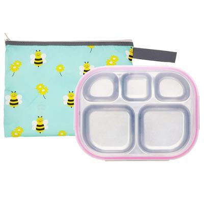 꿀벌대모험 일자형 핑크 유아식판 뚜껑+파우치 포함