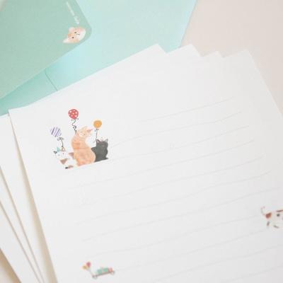 018-SL-0004 / 고양이 편지지 (그린)