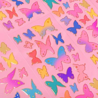 투명금테 나비의 형태 칼선 스티커