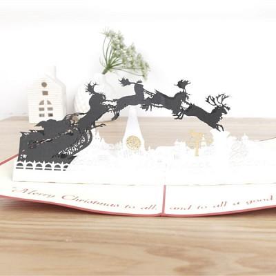 종이로예쁜 입체팝업카드 크리스마스 산타썰매