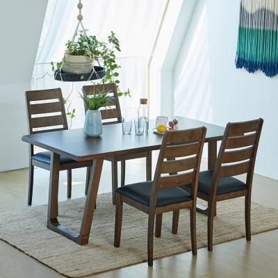 [리비니아]와트 루디 고무나무원목 4인용 식탁세트