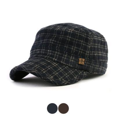 [디꾸보]울 투톤 체크 군모 모자 HN311