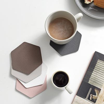 푸코 인조가죽 헥사곤 컵받침 코스터 4개세트(5color)