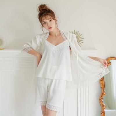 [쿠비카]캐미숄 로브 3부 3종 투피스 여성잠옷 W598