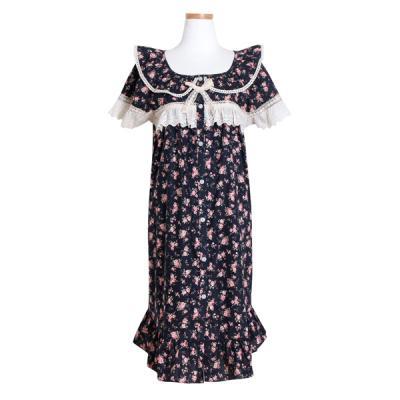 [쿠비카]반소매 순면 원피스 레이스 여성잠옷 W441
