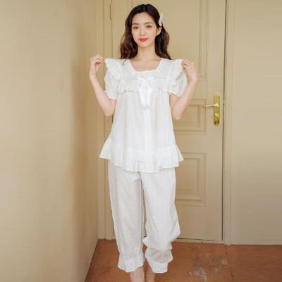[쿠비카]풀 오픈형 스퀘어 넥 투피스 여성잠옷 W588