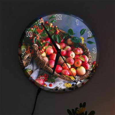 nf493-LED시계액자25R_그림같은사과바구니