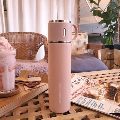 이중 스텐 보온 보냉 대용량 손잡이 예쁜 텀블러 핑크