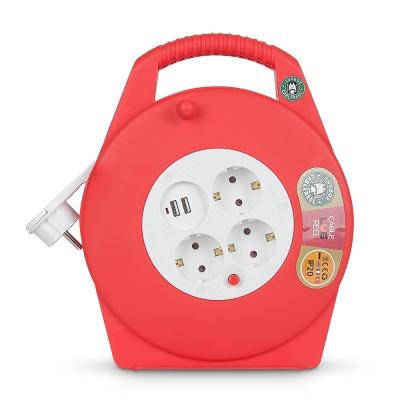 캠핑용 릴케이블 멀티탭 USB충전기 10미터 G17BU-A