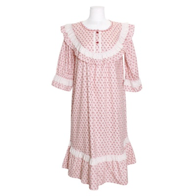 [쿠비카]라운드 넥 플라워 원피스 여성잠옷 W717