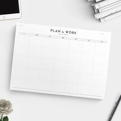 PLAN & WORK monthly planner