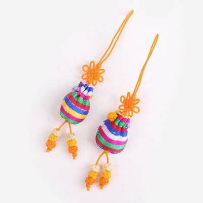 자황색 색동 복주머니 매듭끈 (3개)