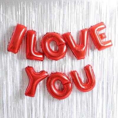 은박풍선 커튼세트 (I LOVE YOU) 레드