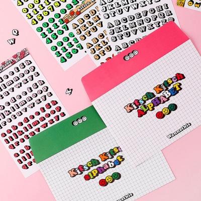 키치키치 알파벳,숫자 스티커 7가지 컬러 세트