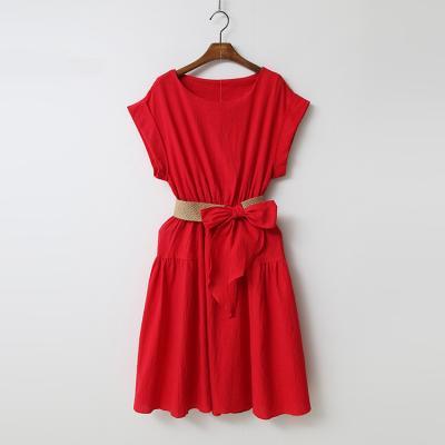 Linen Cotton Belt Flare Dress
