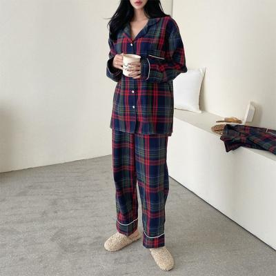 Gimo Navy Check Pajama Set - 커플룩