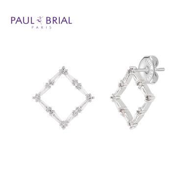 폴브리알 PYBE0098 (WG) 사각 큐빅 귀걸이 大
