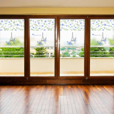dgcn230-로맨틱 파리-무점착 반투명 창문 시트지